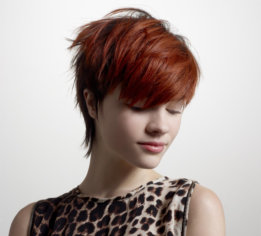 Short Pixie Cut With A Long Neck And Pronounced Bangs