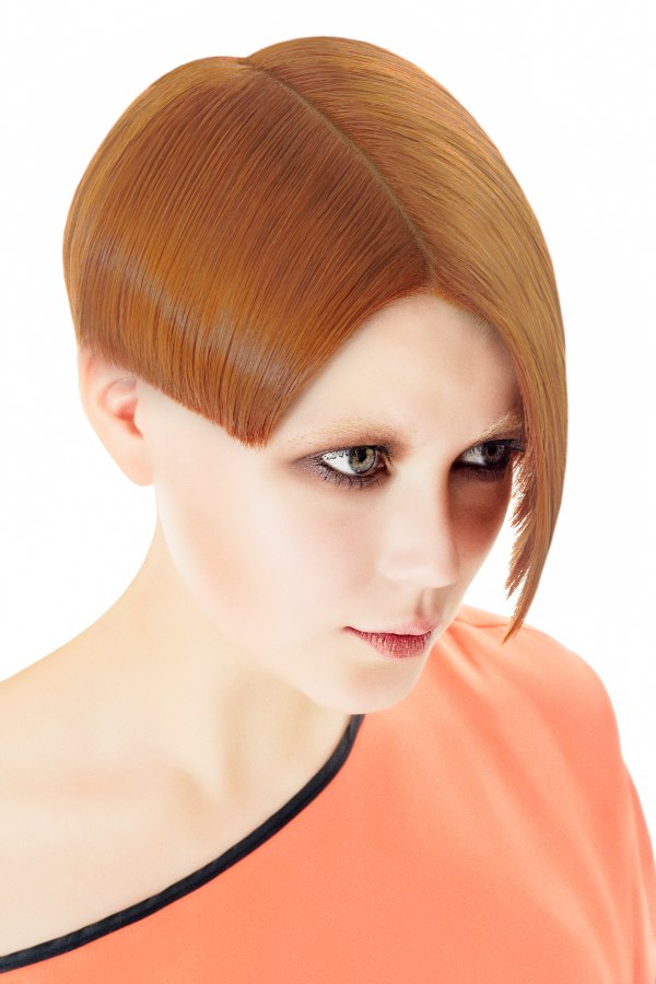 Short Copper Hair With Exact Lines And Straight Sides At