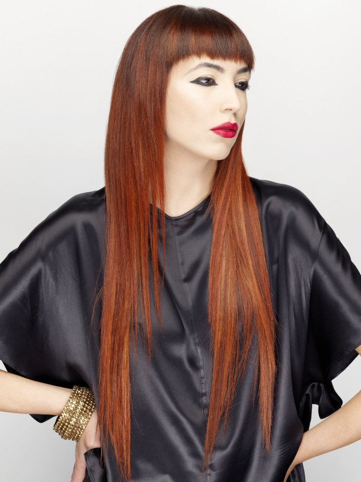 Super Long Hair With Very Short Bangs Redhead