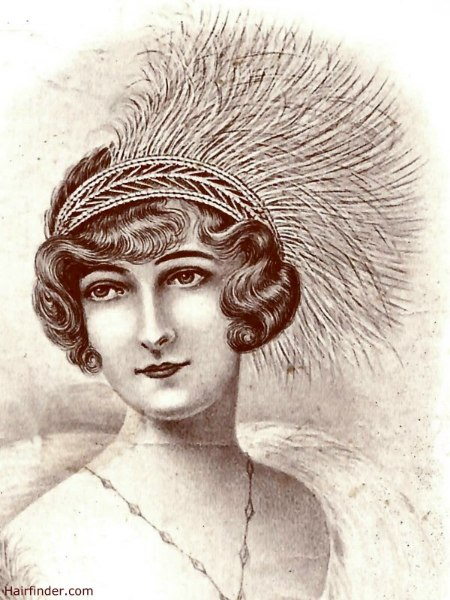 Gatsby hairstyle with a feathered headdress and a flipped fringe | 1912