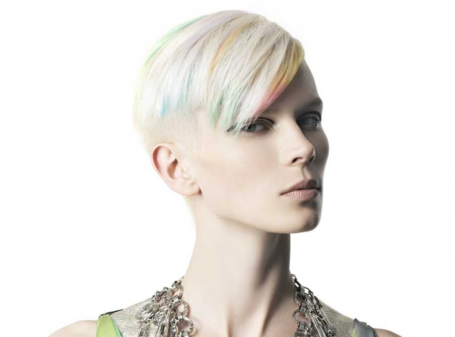 Super Short Hair With A Platinum Base And Pastel Colors