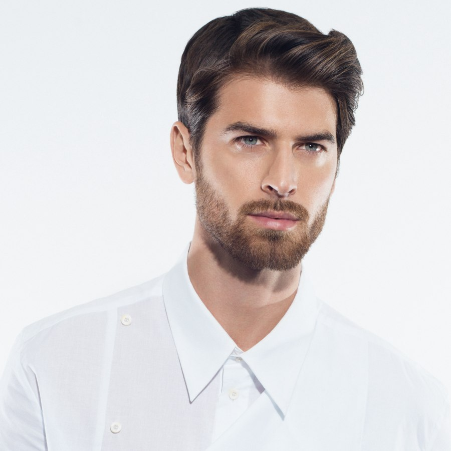 Men S Hairstyle With Waves And A Well Groomed Beard