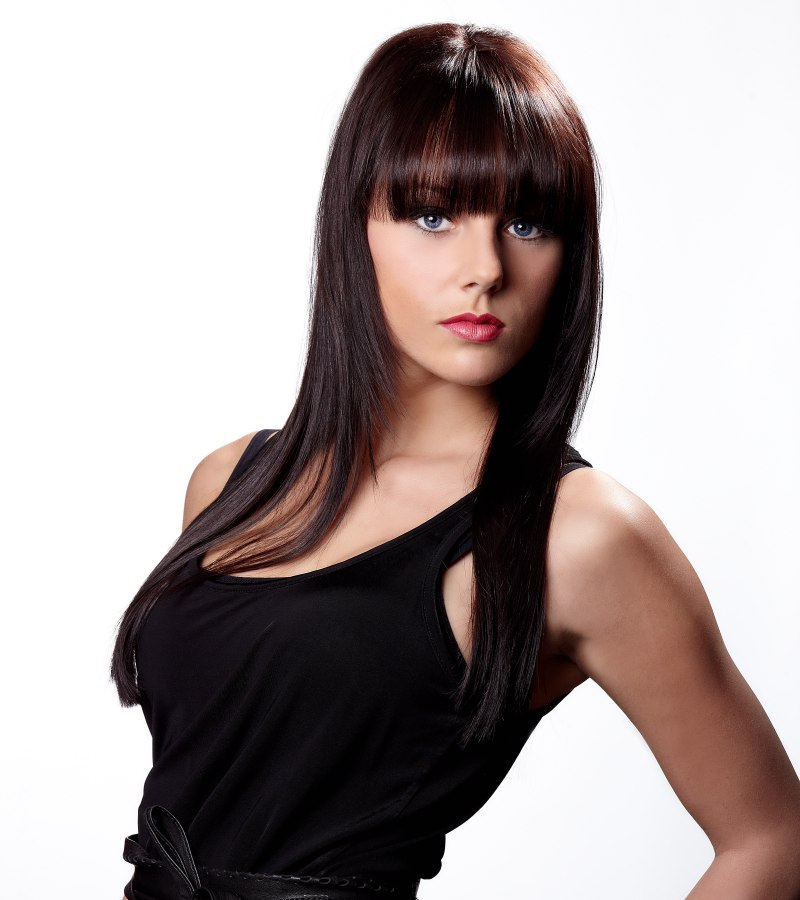 Long And Shiny Brunette Hair With Long Bold Bangs
