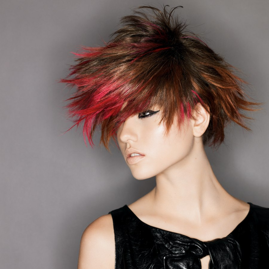 Short Brown Hair With Red Tips And Textured Layers