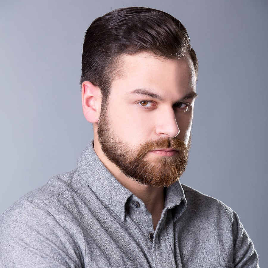 Peachy Traditional Hairstyle And A Beard For Men With Thick Hair Short Hairstyles Gunalazisus