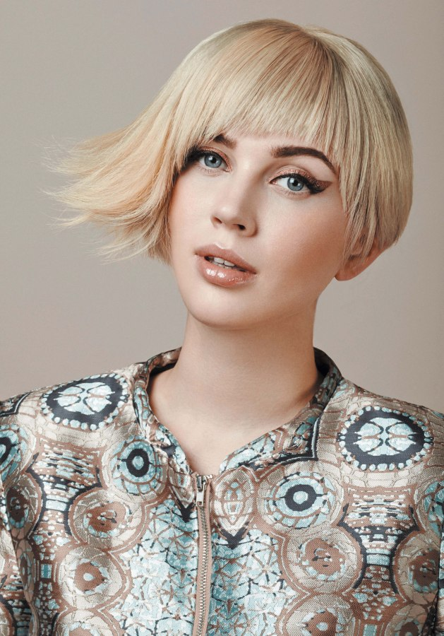 short asymmetrical bob with razor cut bangs