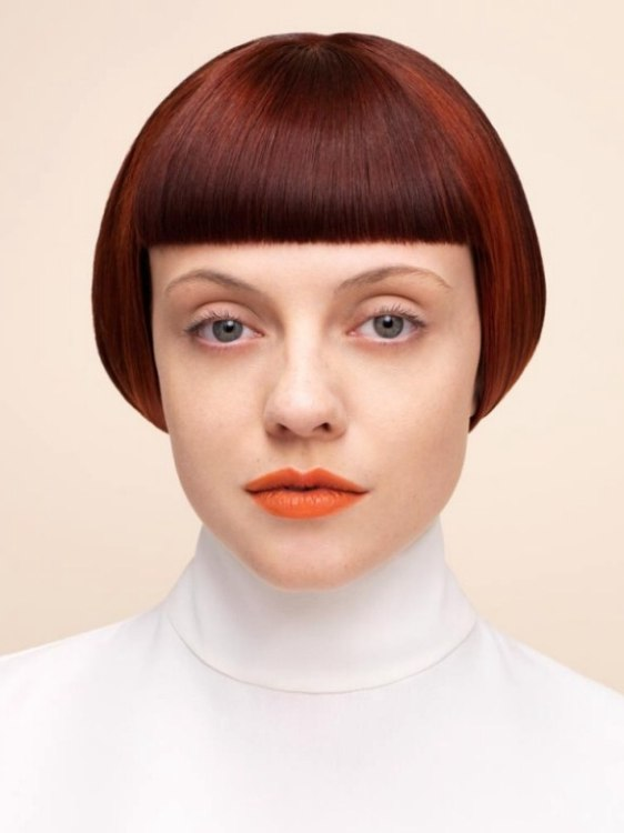 Short hairstyle with laser sharp straight bangs