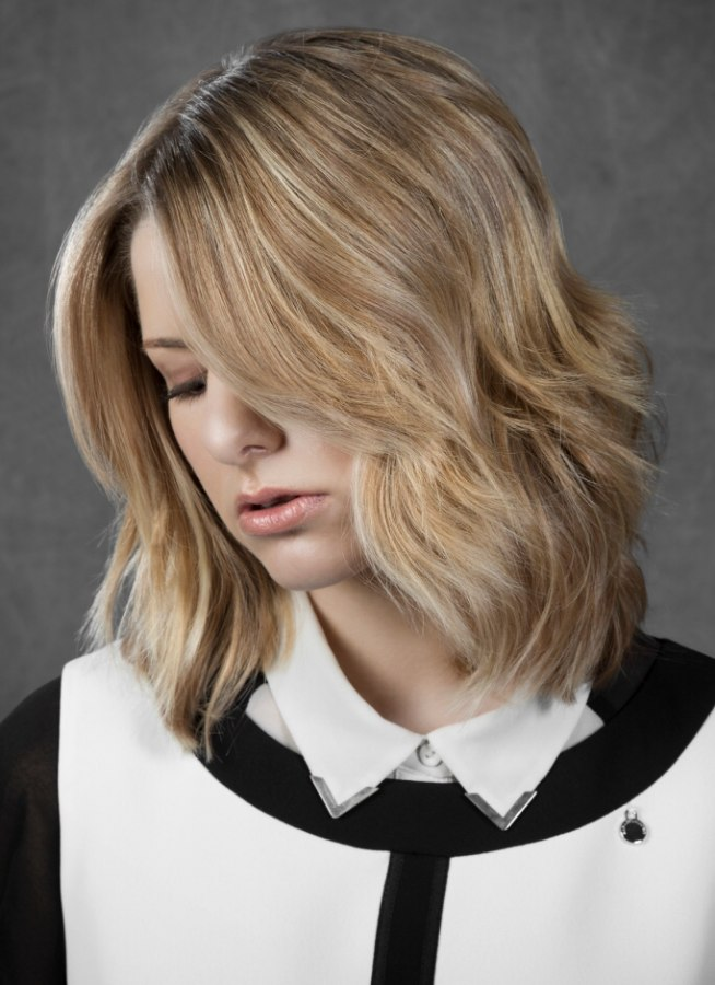 Medium Length Layered Bob For A Wash And Wear Hairstyle