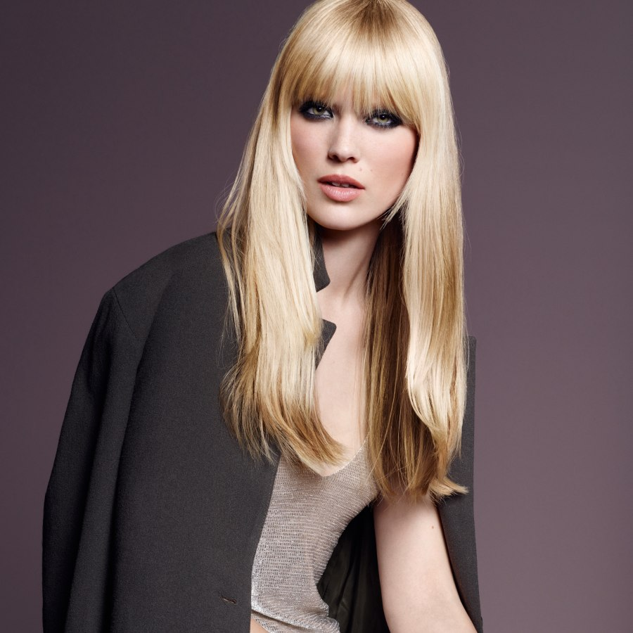 Long Hairstyles: Long Hairstyle With Bangs And Layers Around The Face