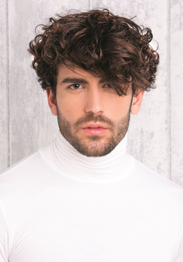Mens Hairstyle With Curls Paired With A Turtleneck