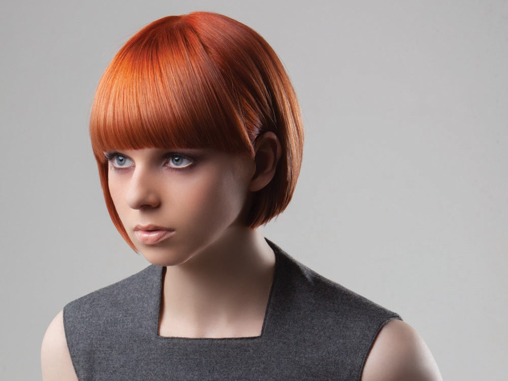 short bob with bangs for red hair
