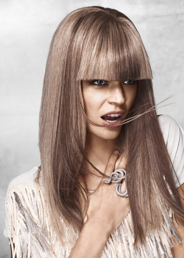 Long Straight Hairstyle With Thick One Length Bangs