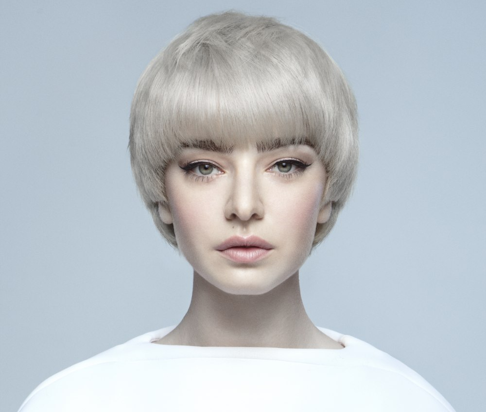 Short Hairstyle With A Thick Fringe And Futuristic Elements