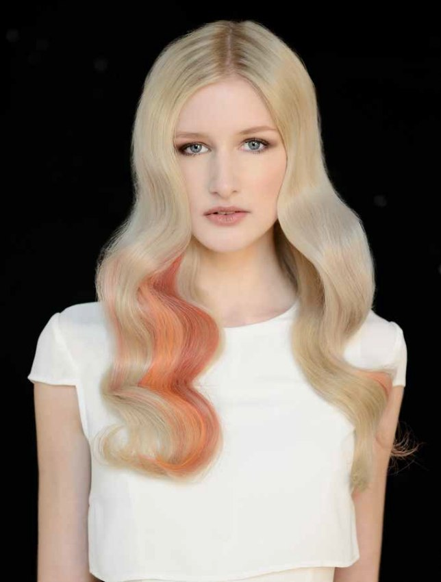 Long Platinum Blonde Hair With Color Accents
