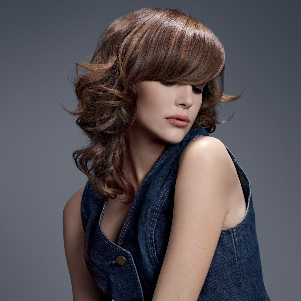 Long Hair With Sleek Bangs And Curls Tone In Tone Highlights