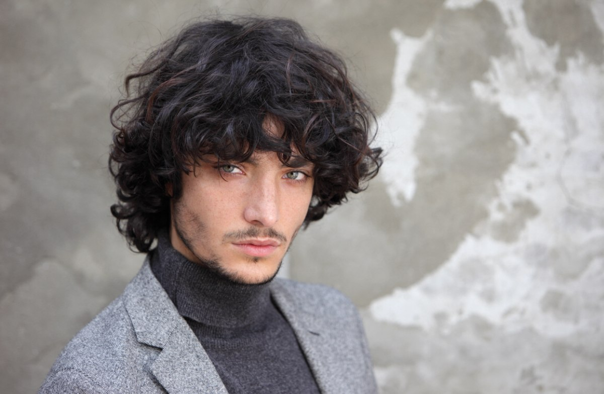 long hairstyle with curls for men