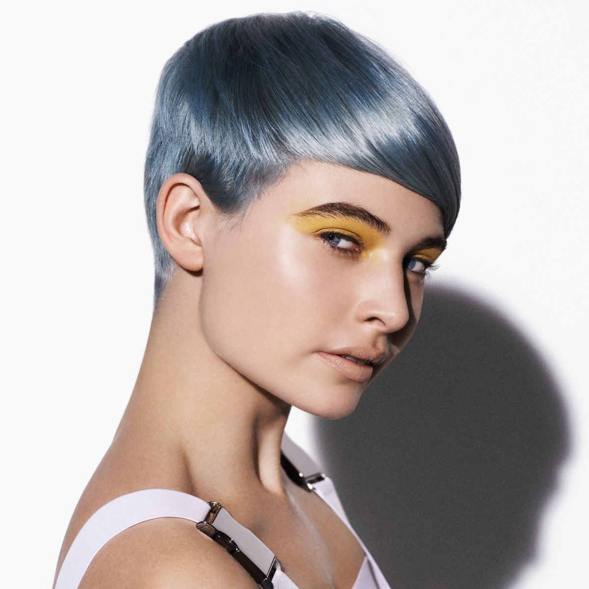 Surprising Short Tomboy Haircut With A Silver Metallic Blue Hair Color Short Hairstyles For Black Women Fulllsitofus