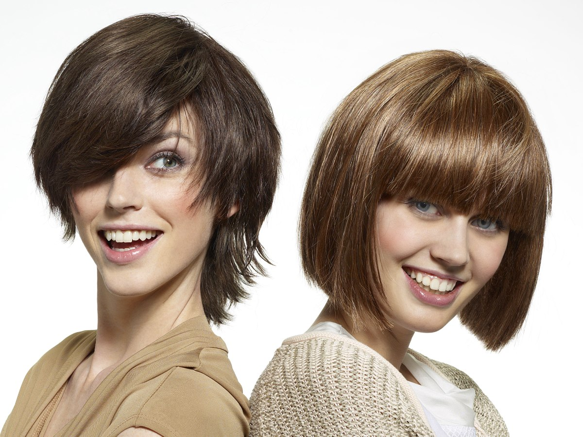 Easy To Handle Blunt Cut Bob Hairstyle With Bangs