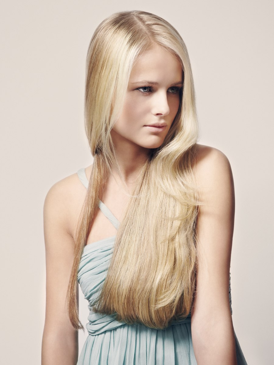 Long Sleek Hair With One Side That Is Slung Towards The Back
