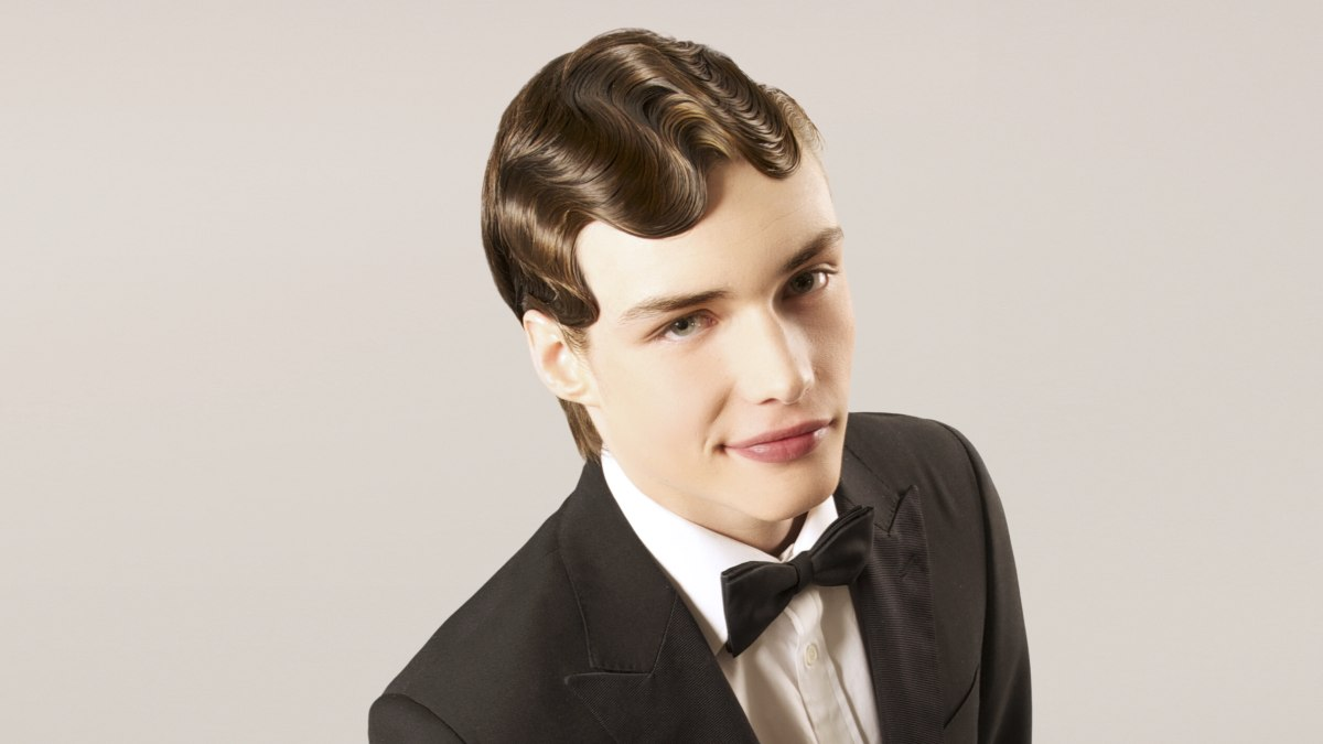 vintage men's haircut with finger waves