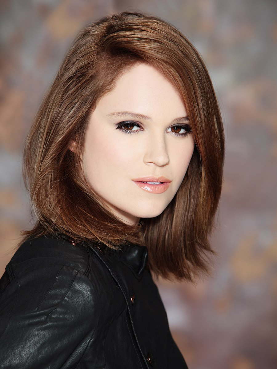 Long Textured Bob For Brown Hair Styled With A Deep Dip To The Side