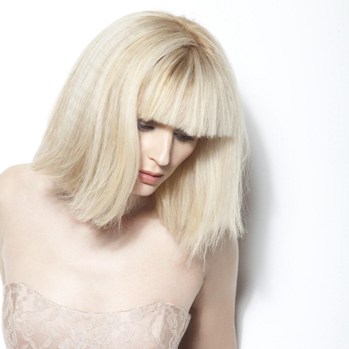 Platinum Blonde Bob Cut Blunt All Around The Perimeter