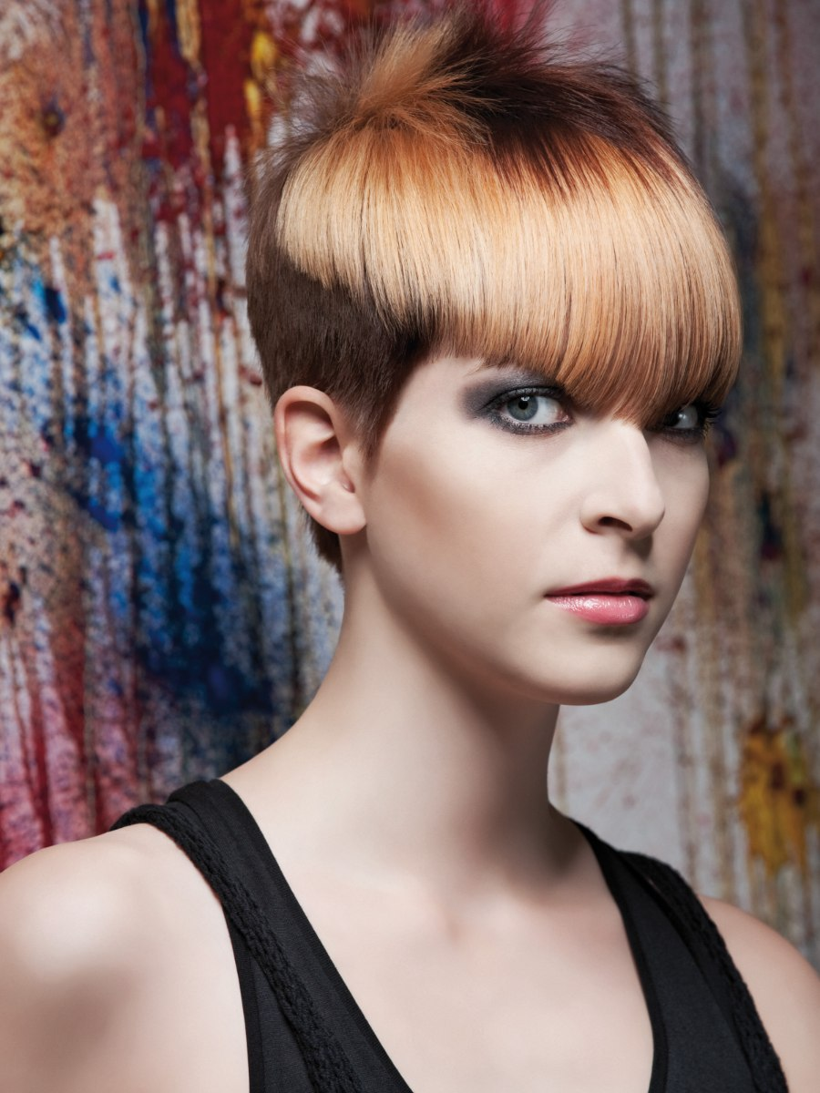 Short haircut with graduated sides and different shades of ...