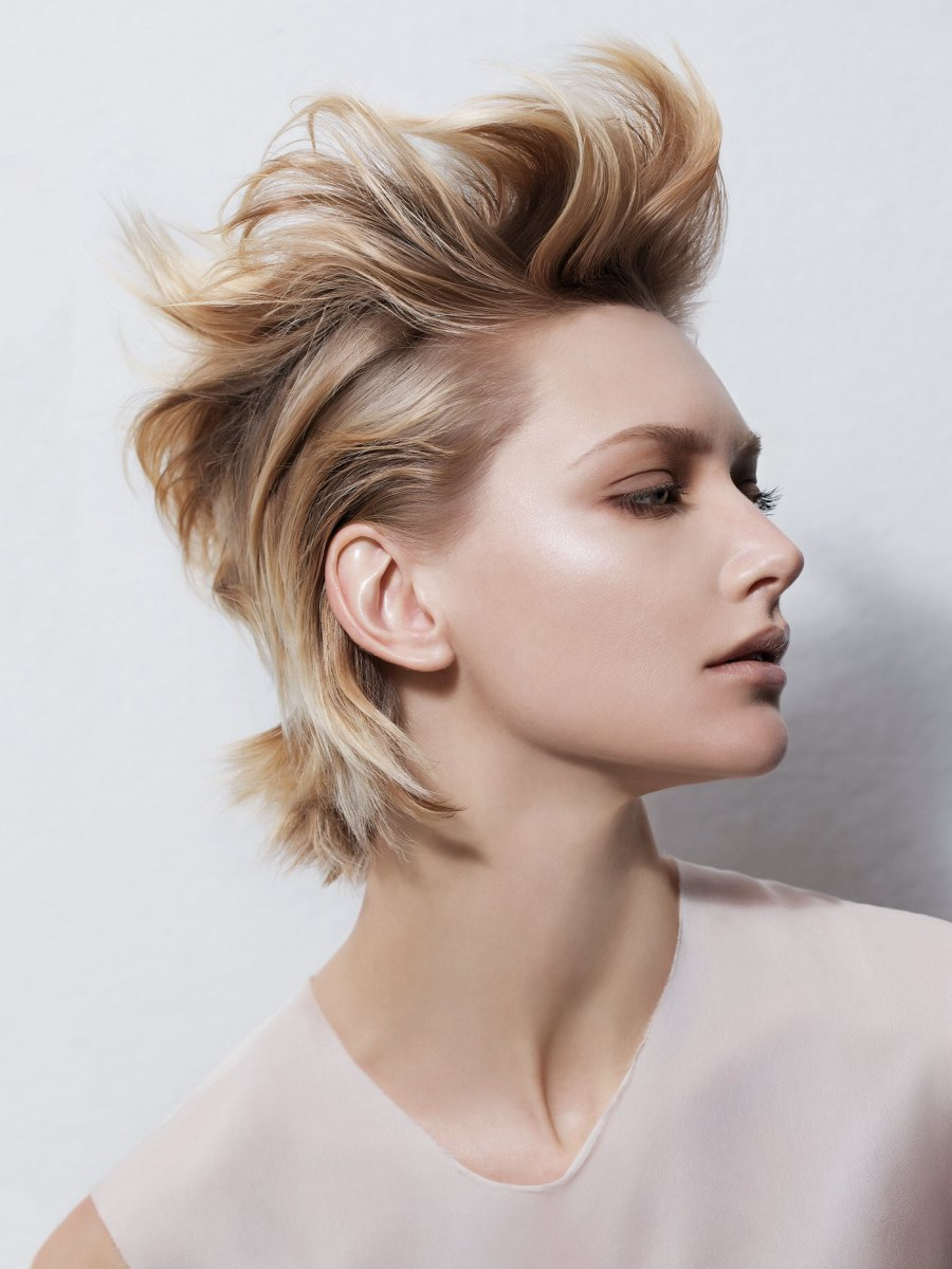 Trendy Short Hairstyle With Hair That Curves Around The Ears