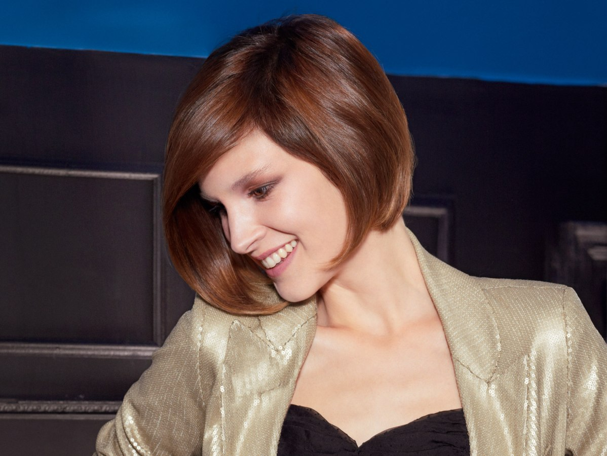 Excellent Preppy And Neat Short Bob Haircut With Graduation And A Forward Angle Short Hairstyles Gunalazisus