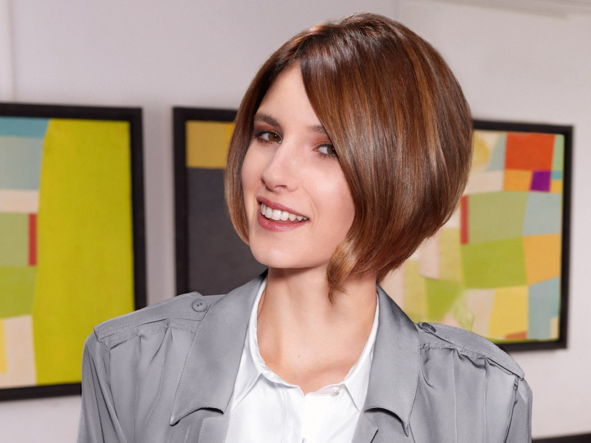 Marvelous Preppy And Neat Short Bob Haircut With Graduation And A Forward Angle Short Hairstyles Gunalazisus