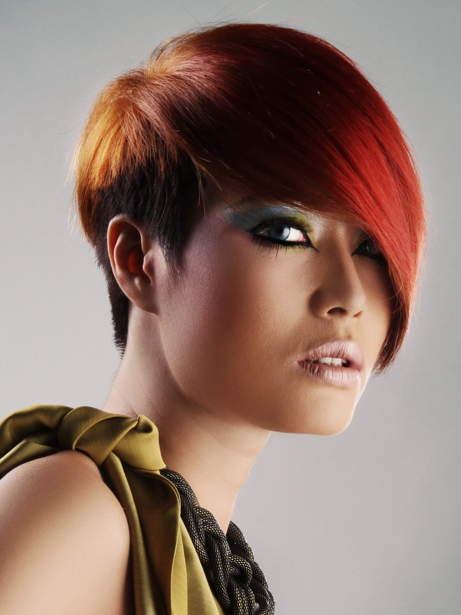 Red Asian Hair With A Very Short Neck And A Long Fringe