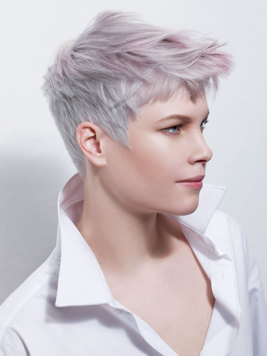 Short Haircut With Silver And Lilac Hair Colors Upturned