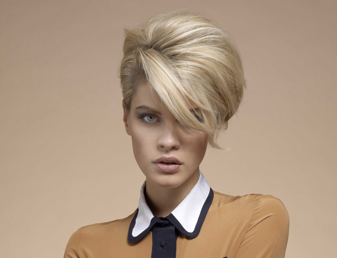 hairstyle with the fringe shifted to one side