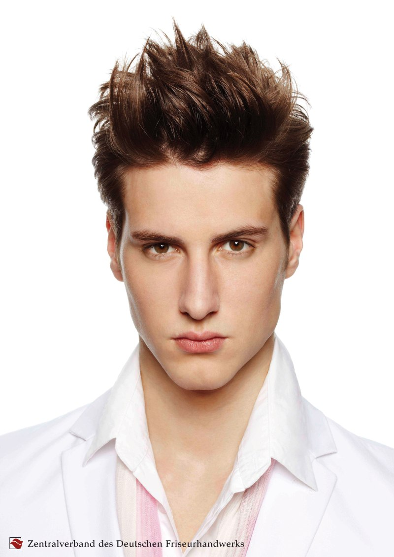 Short Men's Cut With Slicked Back Sides And Top Hair That