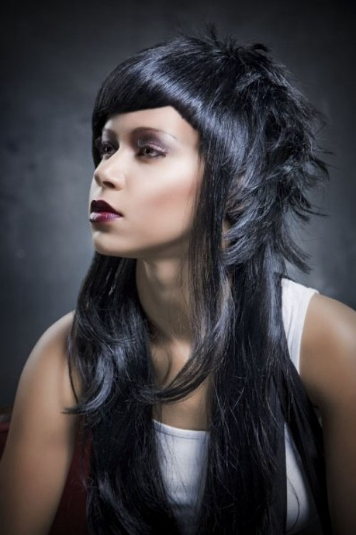 Licorice Hair Color For A Long Haircut With Wispy Sections