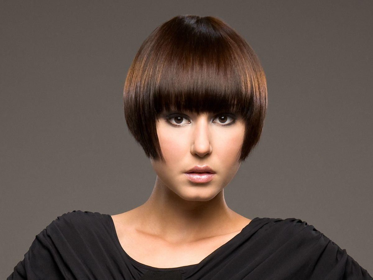 Short bob haircut with the hair cut right below ear level