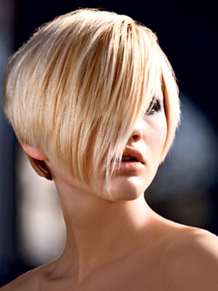 Super Short Bob Hairstyle With A Fringe That Reaches The