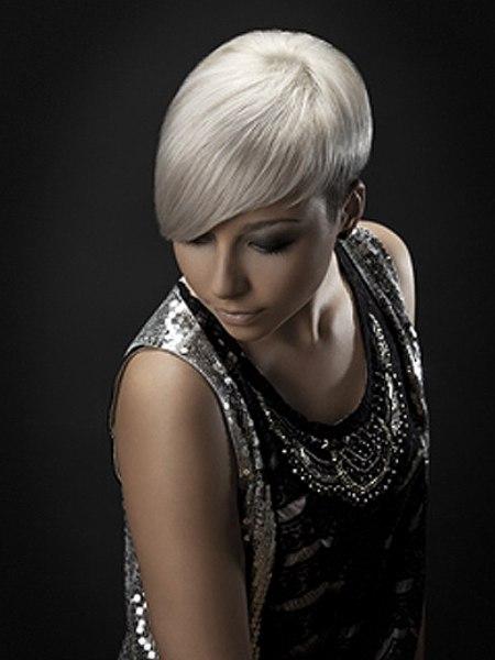 Short Asymmetrical Haircut For Silver Hair