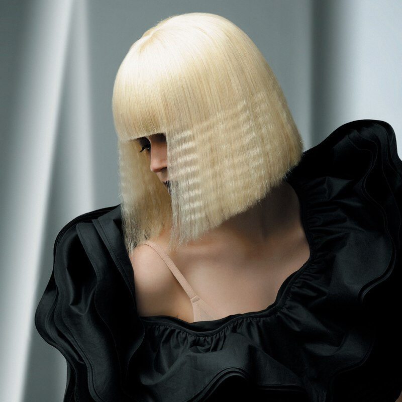 Blonde And Crimped Over Chin Length Cleopatra Bob