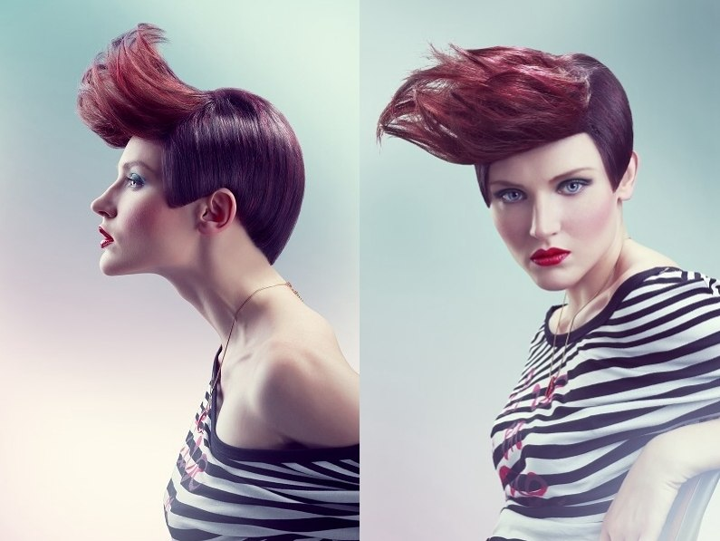 Short Haircut For Bordeaux Red Hair With A Long Fringe