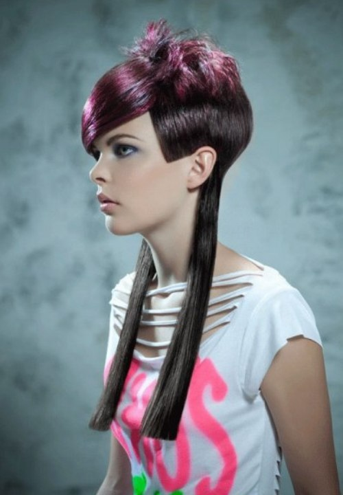 Short long hairstyle with different lengths and colors