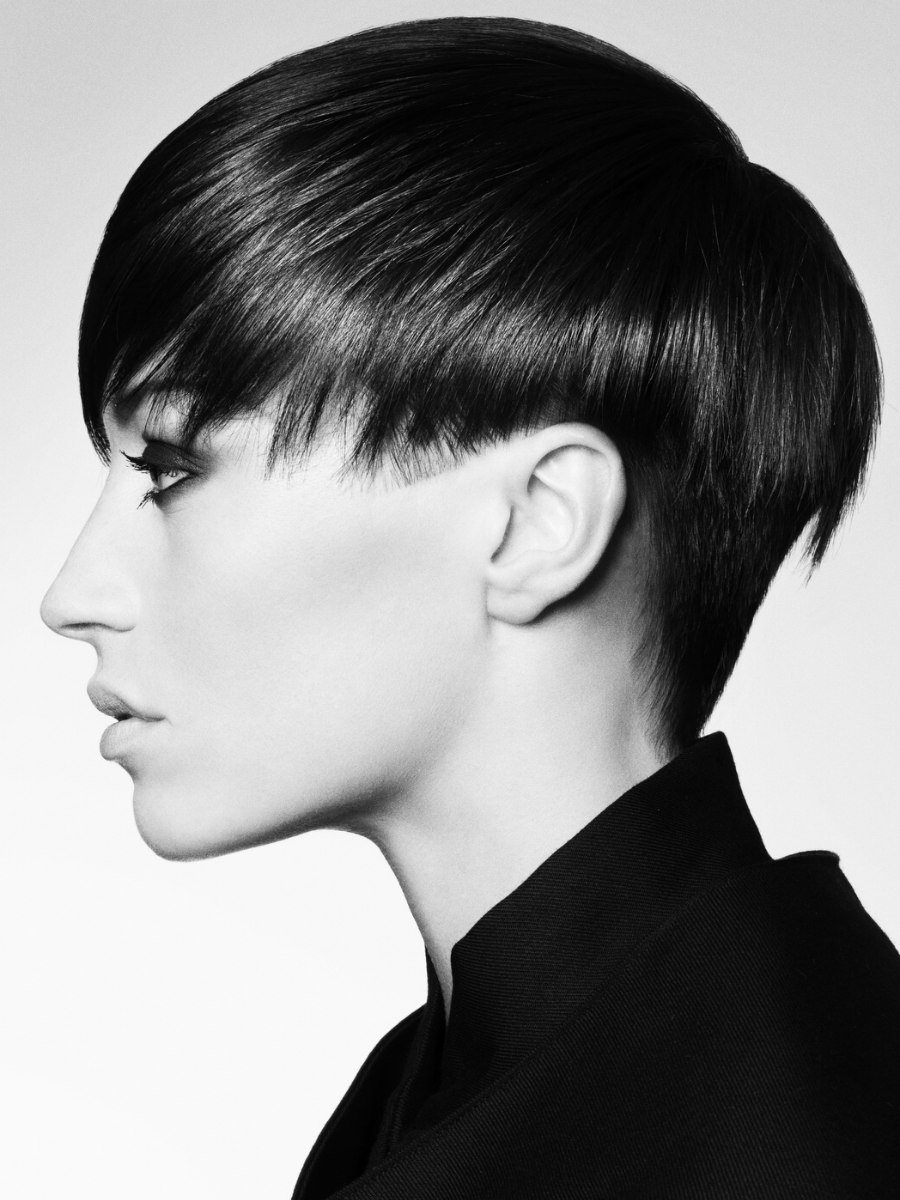 Short haircut with long top hair undercut and a graduated neck