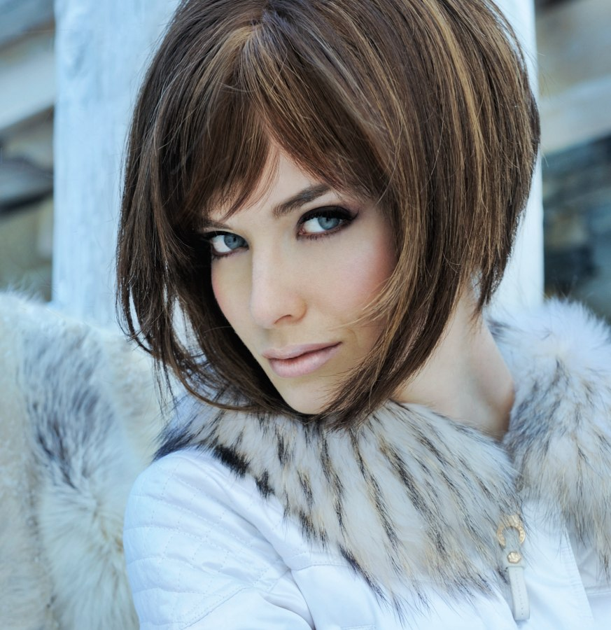 Smooth and elegant A-line bob cut, layered and cut with texturing