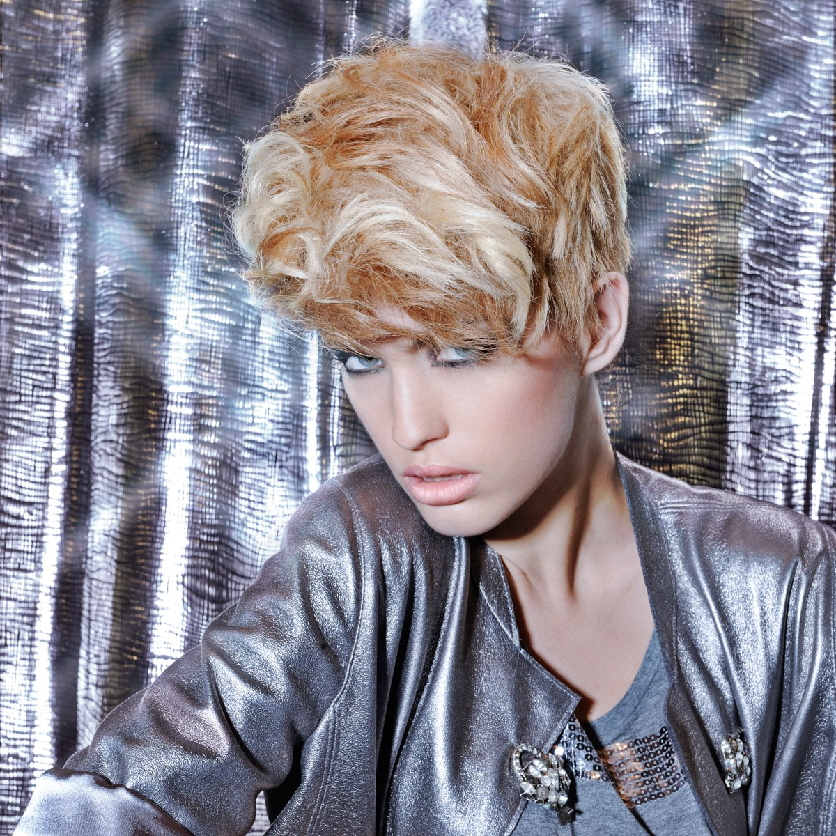 Pixie with volume for golden blonde hair
