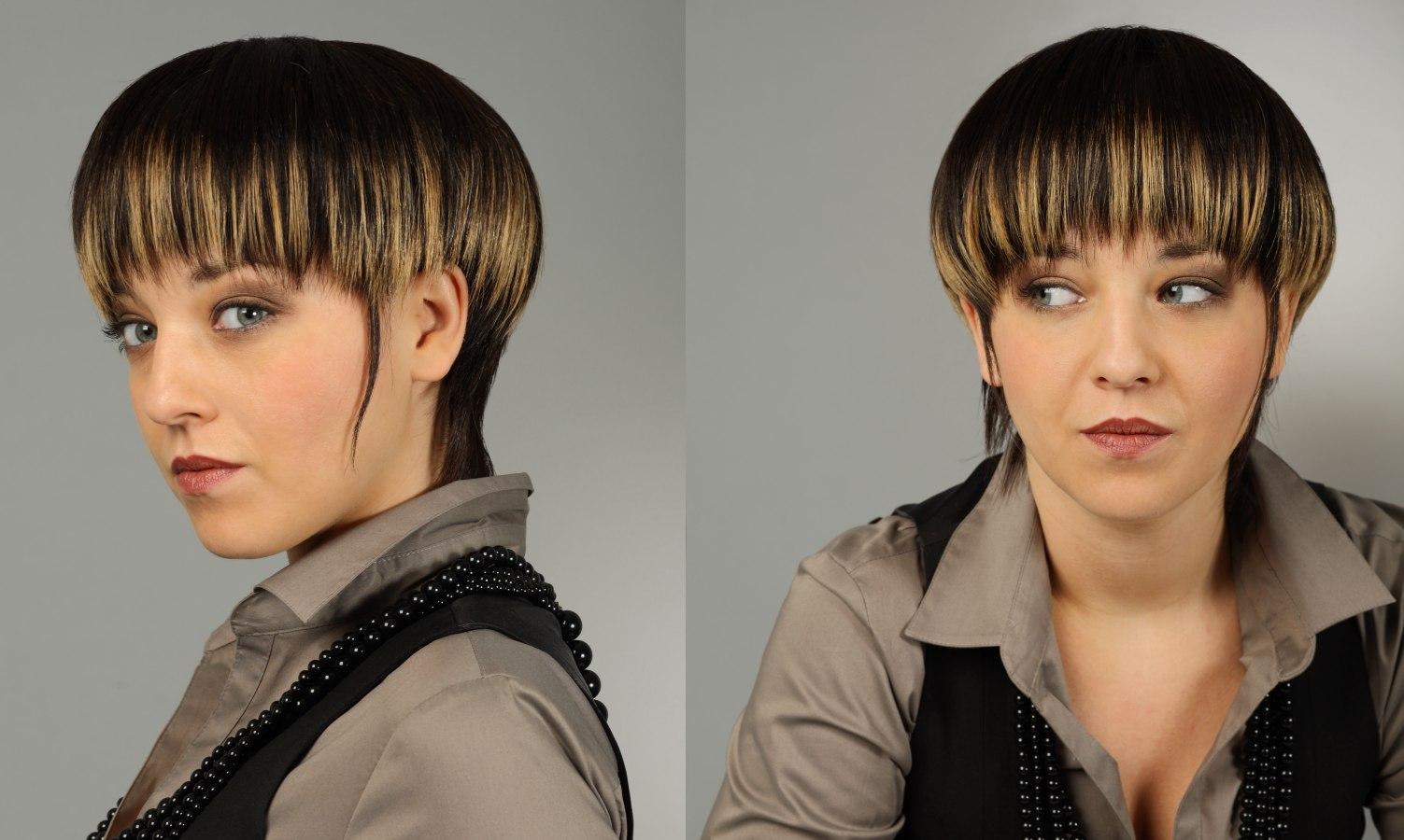 short mushroom haircut with a longer sleek neck section