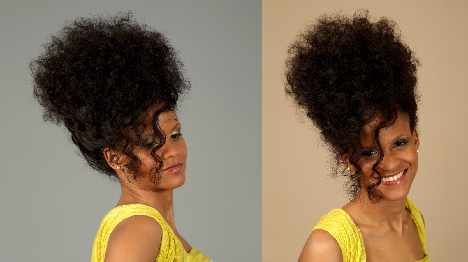 Updo for naturally curly hair with the neck and side hair pinned up