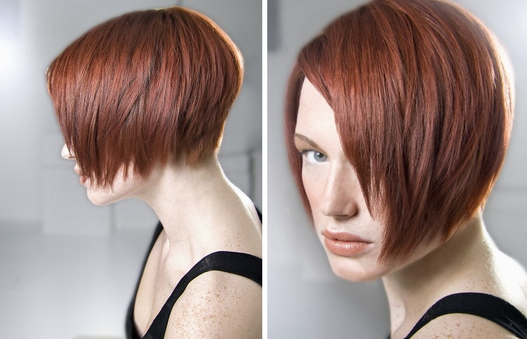 Jaw Length Side Parted Bob With An Angle And A Graduated
