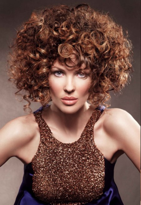 Hair Style With Large Curls Small Curls Spiral Curls And