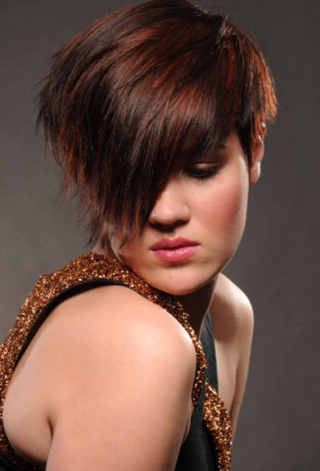 Textured Wedge Hairstyle With A Very Short Neck And An Eye