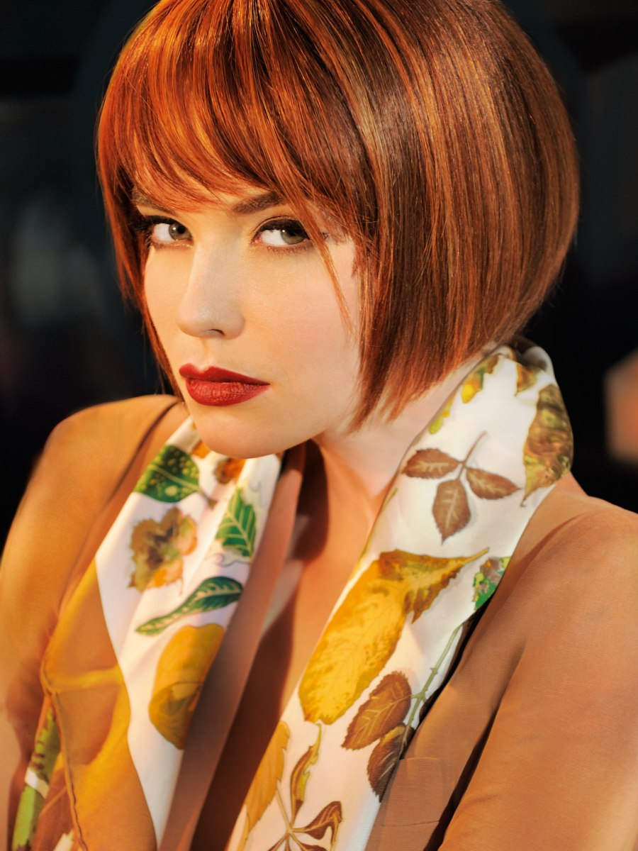 Classic Chin Length Bob With A Feathery Edged Fringe